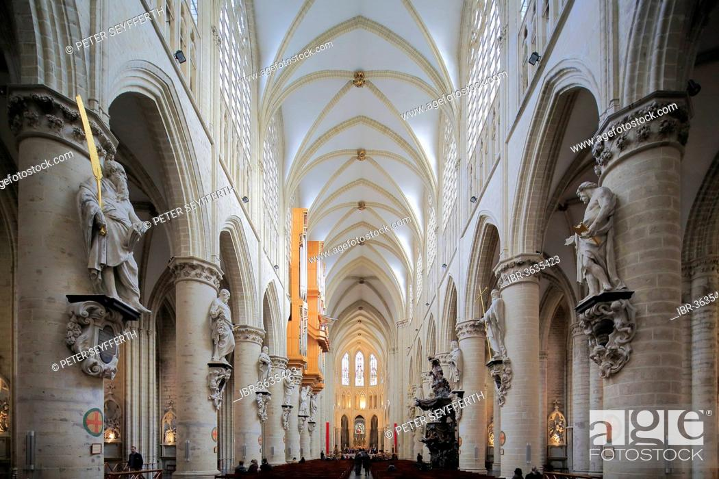 Photo de stock: Nave, Cathedral of St. Michael and St. Gudula, Brussels, Brussels Region, Belgium.