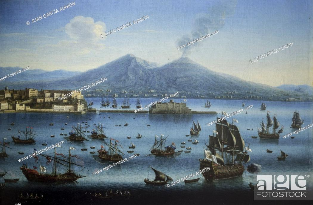 Stock Photo: Chiaia Port overview, Naples, Italy, 18th Century, detail. Painted Juan Ruiz. Museo del Prado.