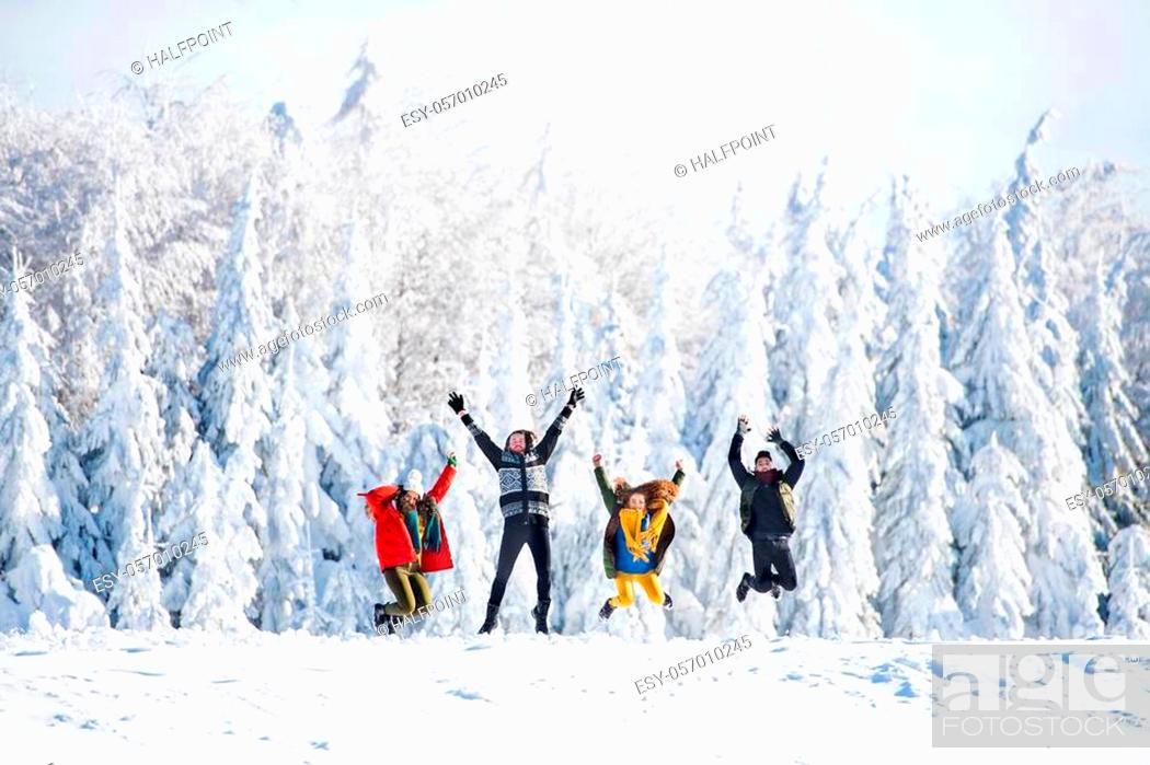 Imagen: A group of young cheerful friends on a walk outdoors in snow in winter forest, having fun.