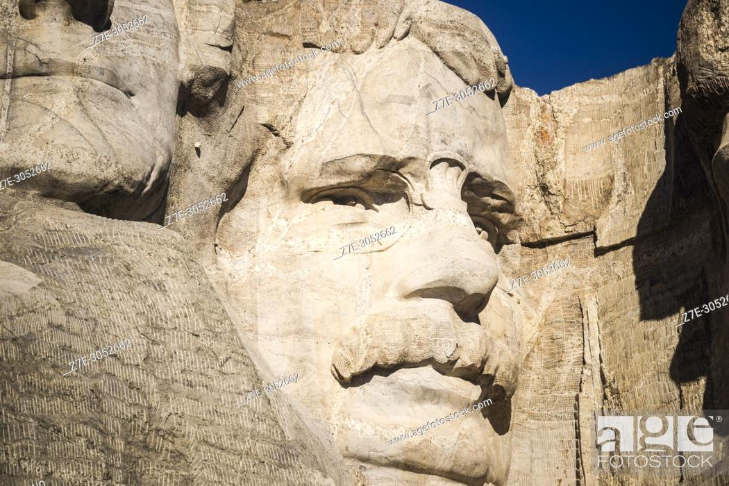 Stock Photo: Close-up of granite sculpted face of President Theodore Roosevelt. Mount Rushmore National Memorial, Black Hills, Keystone, South Dakota, U. S. A.