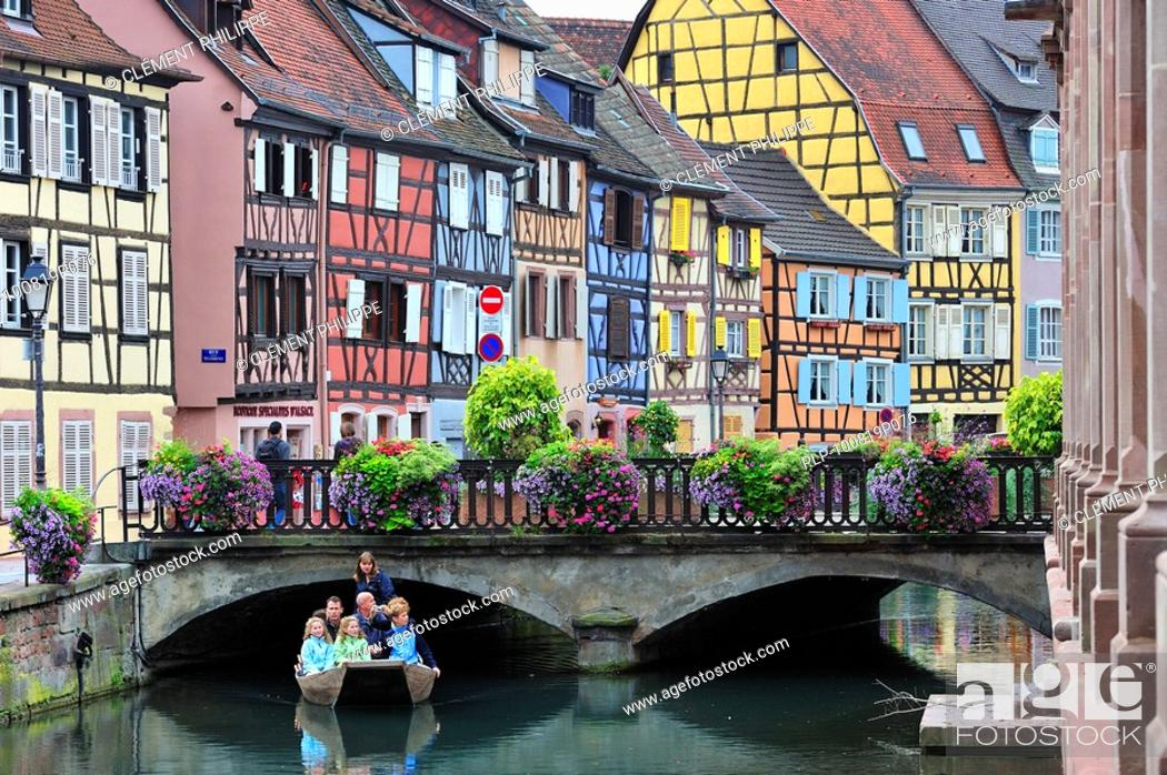Stock Photo: Colorful façades of timber framed houses at Petite Venise / Little Venice, Colmar, Alsace, France.