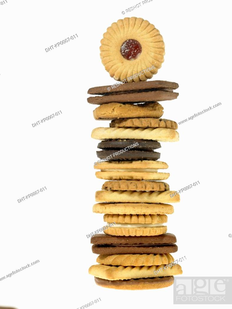 Stock Photo: Stack of various assorted Biscuits.