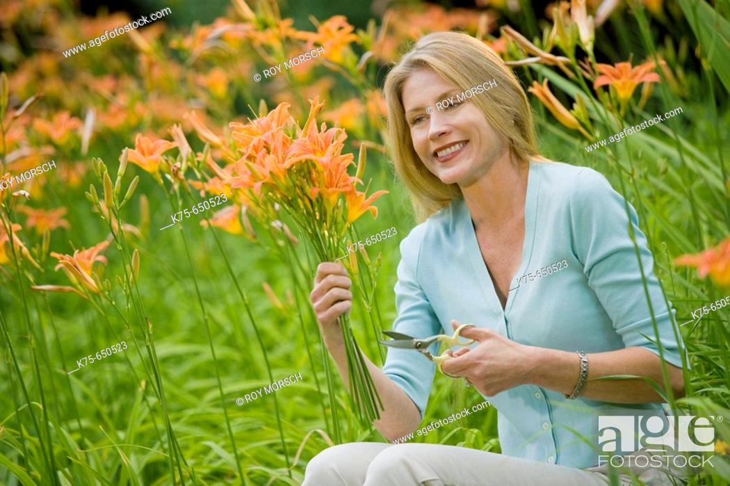 Stock Photo: woman cutting a bouquet of lillies.