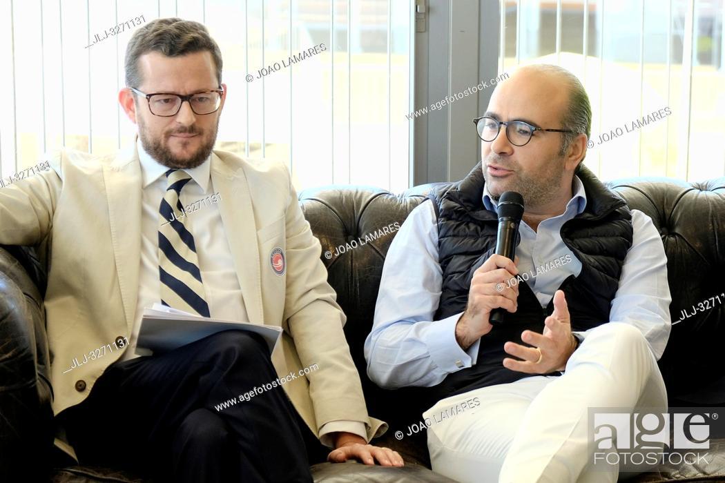 Stock Photo: Joao Zilao (Tournement Director) and Miguel Pinto Luz (Vice-Mayor of Cascais) Millennium Estoril Open 2019, Press conference at Nova SBE University.