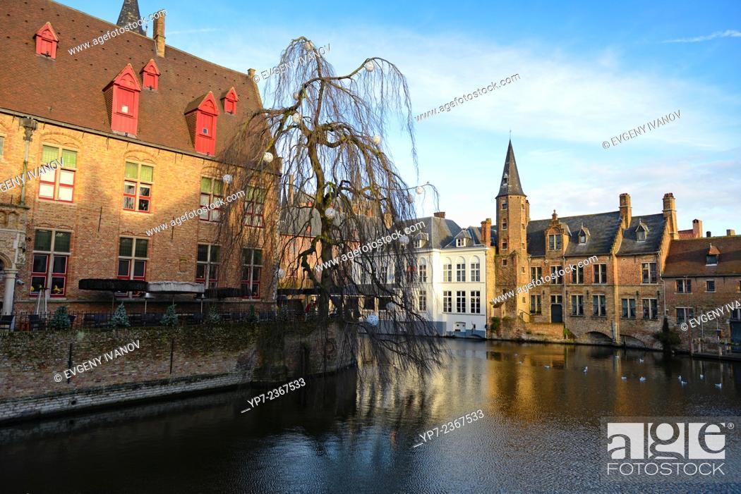 Stock Photo: Dijver river canal near Rozenhoedkaai area, Brugge, Belgium.