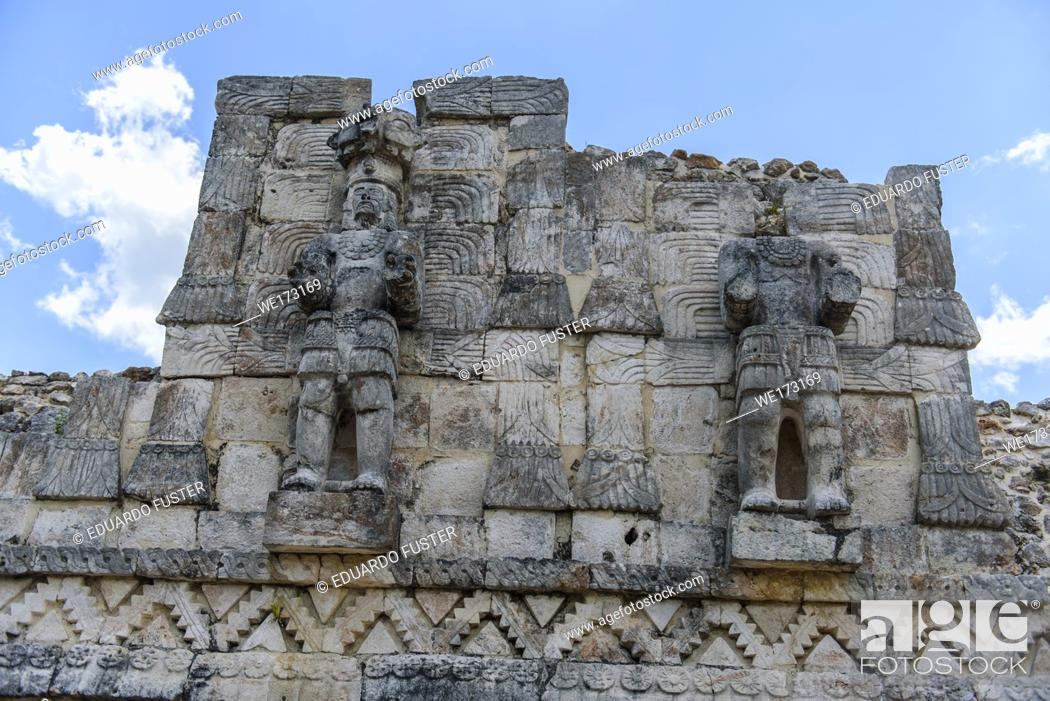 Stock Photo: Soldiers sculpture in the ruins of Kabah, Yucatan Peninsula, Mexico.