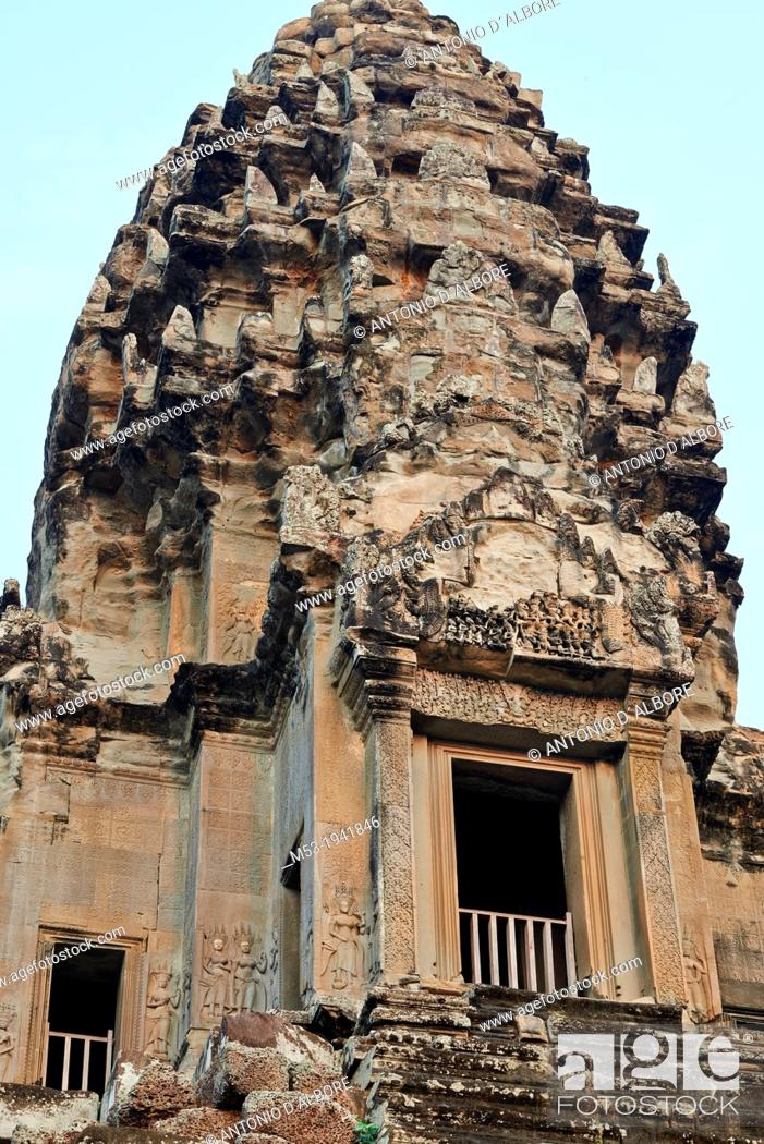 Stock Photo: The Central Towers at Angkor Wat Temple. Siem Reap. Cambodia.