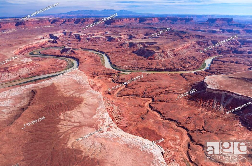 Stock Photo: Aerial View, Green River, Canyonlands National Park, Utah, Usa, America.