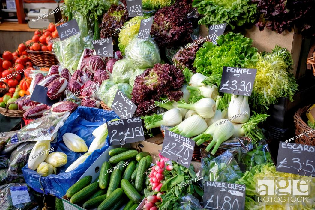 Stock Photo: Fresh vegetables on sale, Borough Market, London, UK.