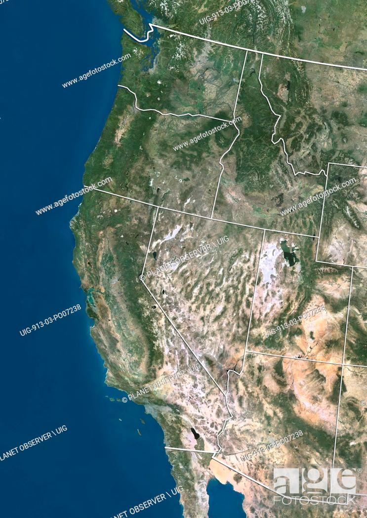 Imagen: Satellite view of the West Coast of the United States (with administrative boundaries). This image was compiled from data acquired by Landsat satellites.