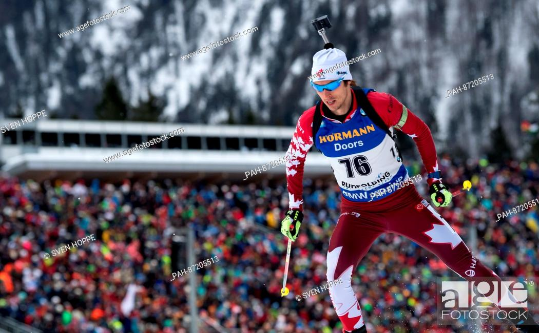Stock Photo: The biathlon athlete Brendan Green from Cananda participates in the men's 10 km sprint within the Biathlon Worldcup at the Chiemgau Arena in Ruhpolding, Germany.