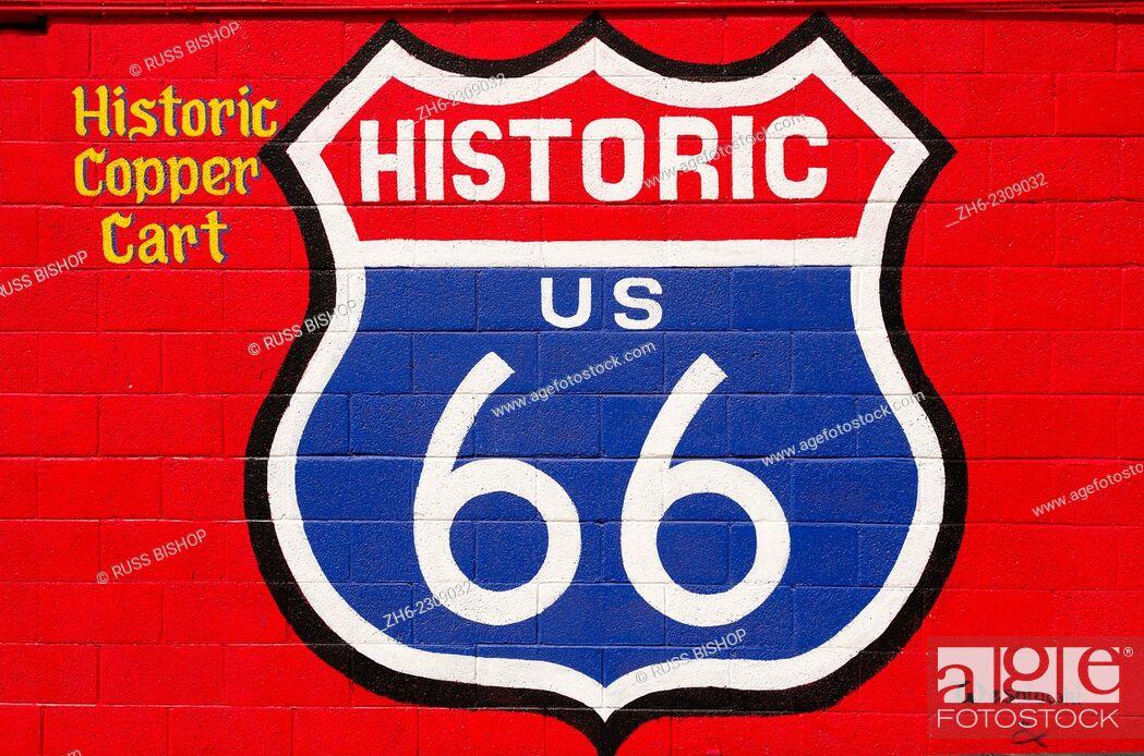 Stock Photo: Sign on historic Route 66, Seligman, Arizona USA.