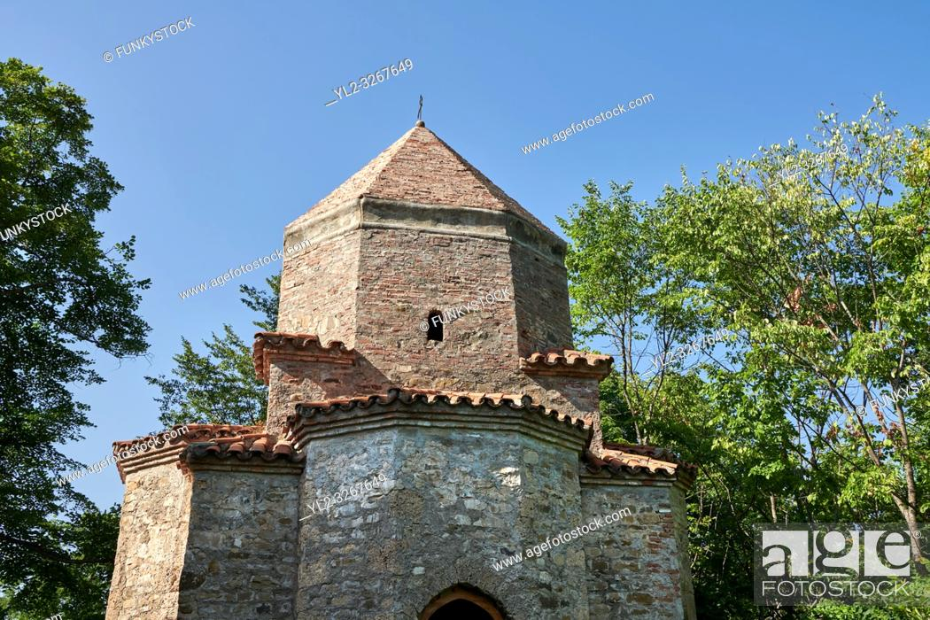 Stock Photo: Pictures & images of a tetraconch cupola church from the first quarter of the seventh century. Dzveli (Old) Shuamta Monastery founded by one of the 13 Syrian.