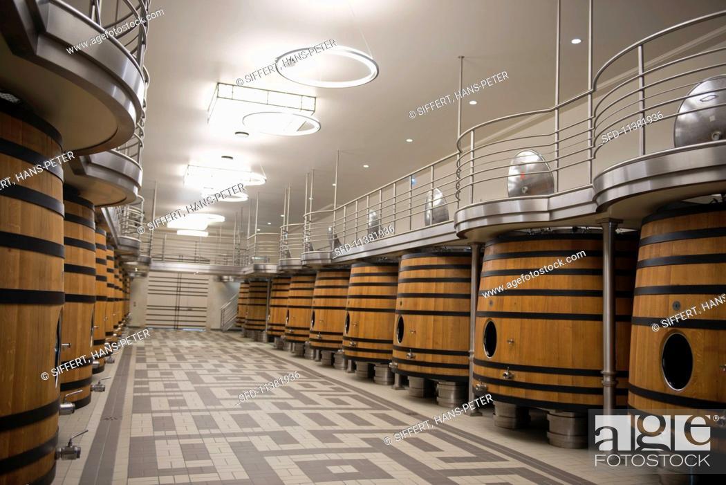 Stock Photo: A fermentation cellar at Chateau Pavie (St-Emilion, Bordeaux, France).