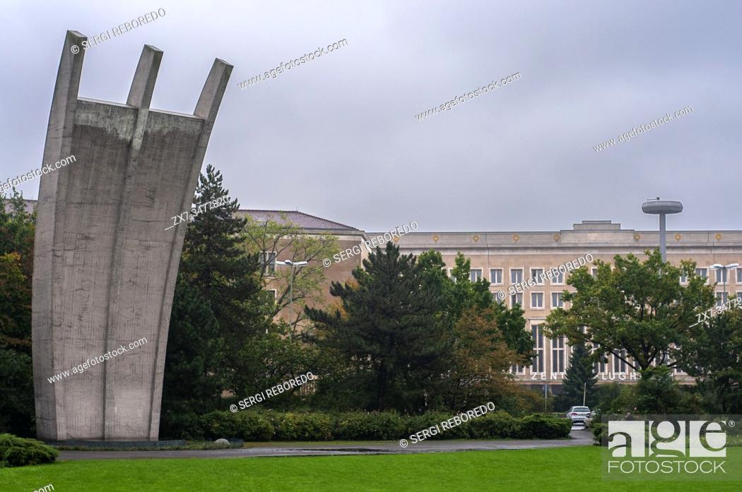 Stock Photo: The Berlin Airlift Memorial at Tempelhof Flughafen, Berlin, Germany.
