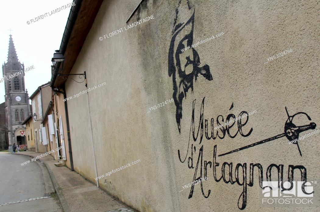 Stock Photo: entree musee d'artagnan, lupiac, gers, occitanie.