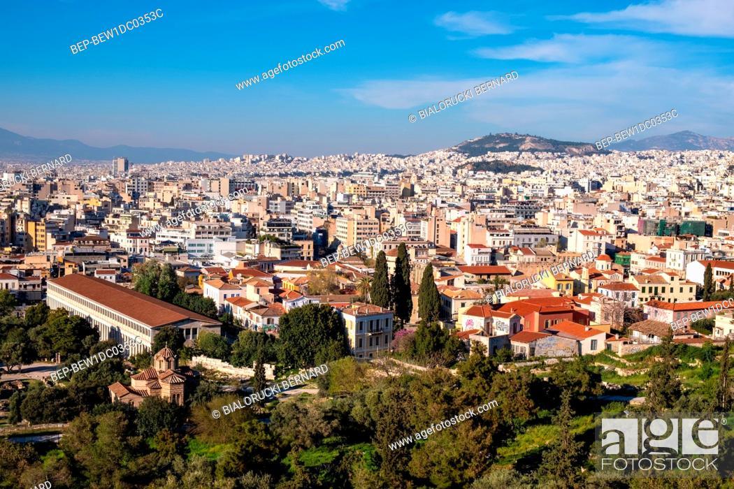 Stock Photo: Athens, Attica / Greece - 2018/04/02: Panoramic view of metropolitan Athens with Athenian Agora and Attalus, Stoa of Attalos, seen from Acropolis hill.