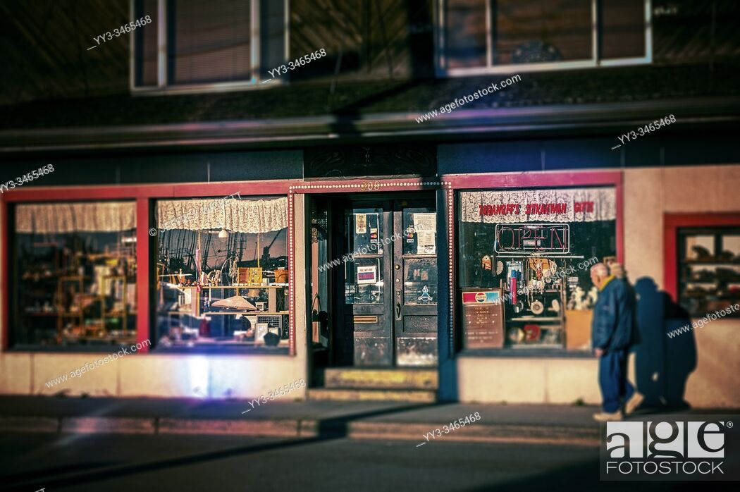 Stock Photo: Store front of Taranoff's Sitkakwan Gifts in Sitka, Alaska, USA. You never know what you may find inside. . Sitka is an Alaskan city and borough near Juneau.