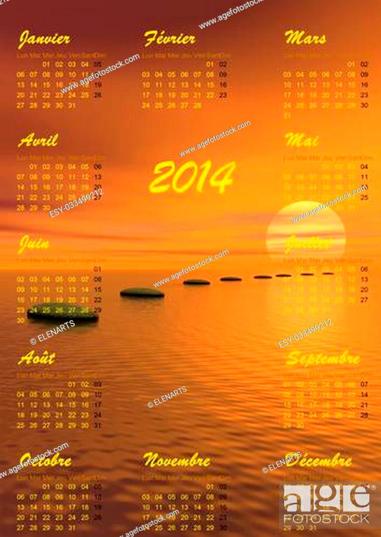 Stock Photo: 2014 calendar and grey stones steps upon ocean going to the sun by sunset in background.