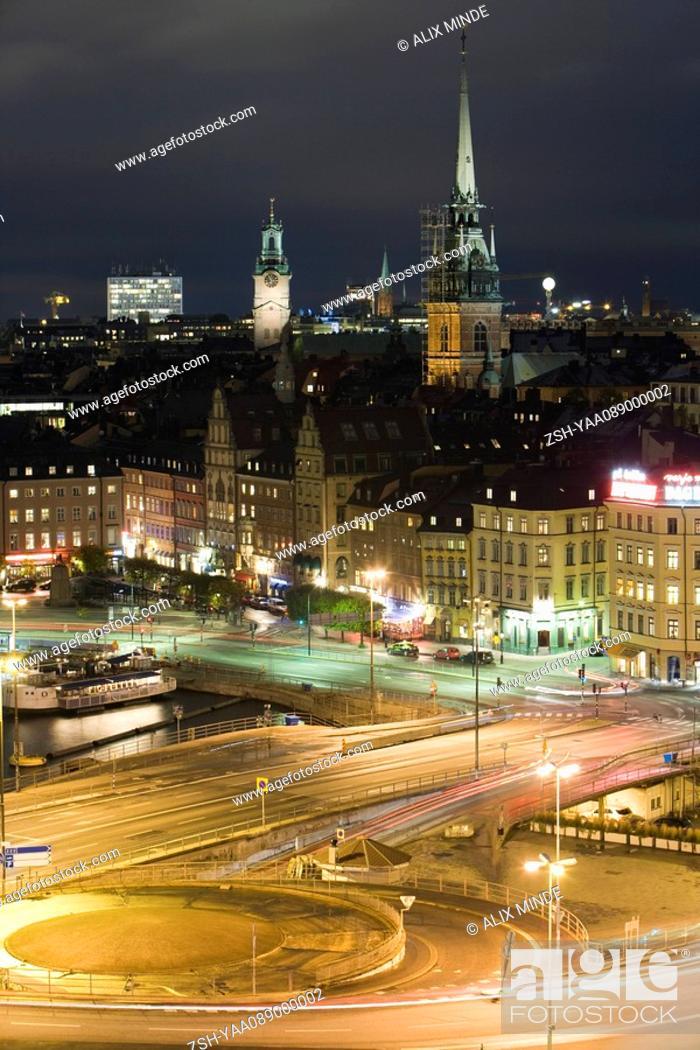 Stock Photo: Sweden, Sodermanland, Stockholm, Slussen, night scene.
