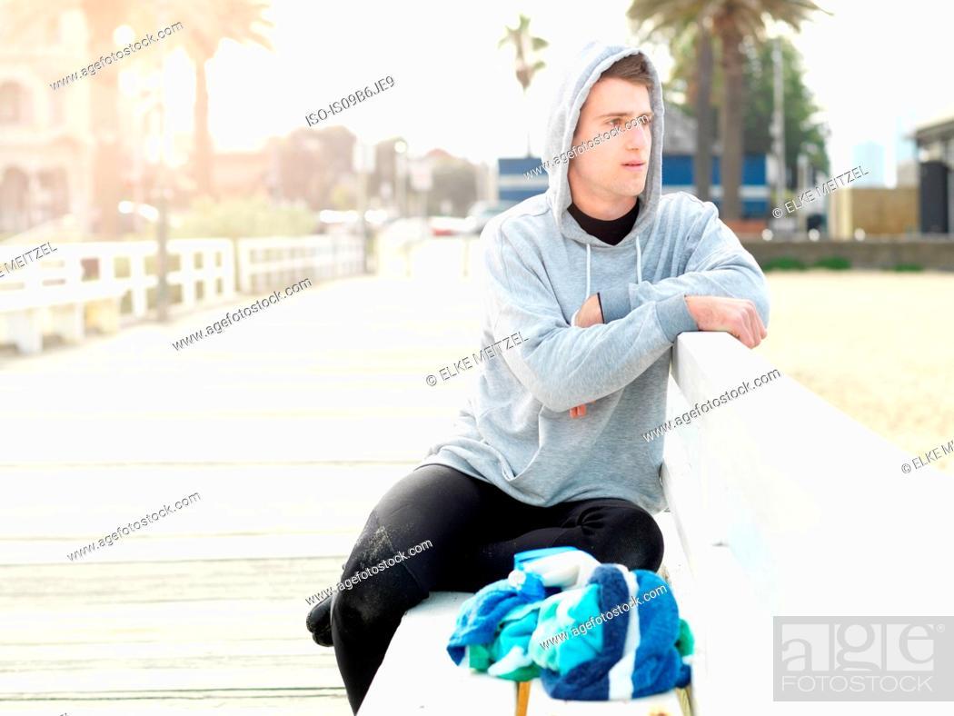 Stock Photo: Man on promenade looking away, Melbourne, Victoria, Australia, Oceania.