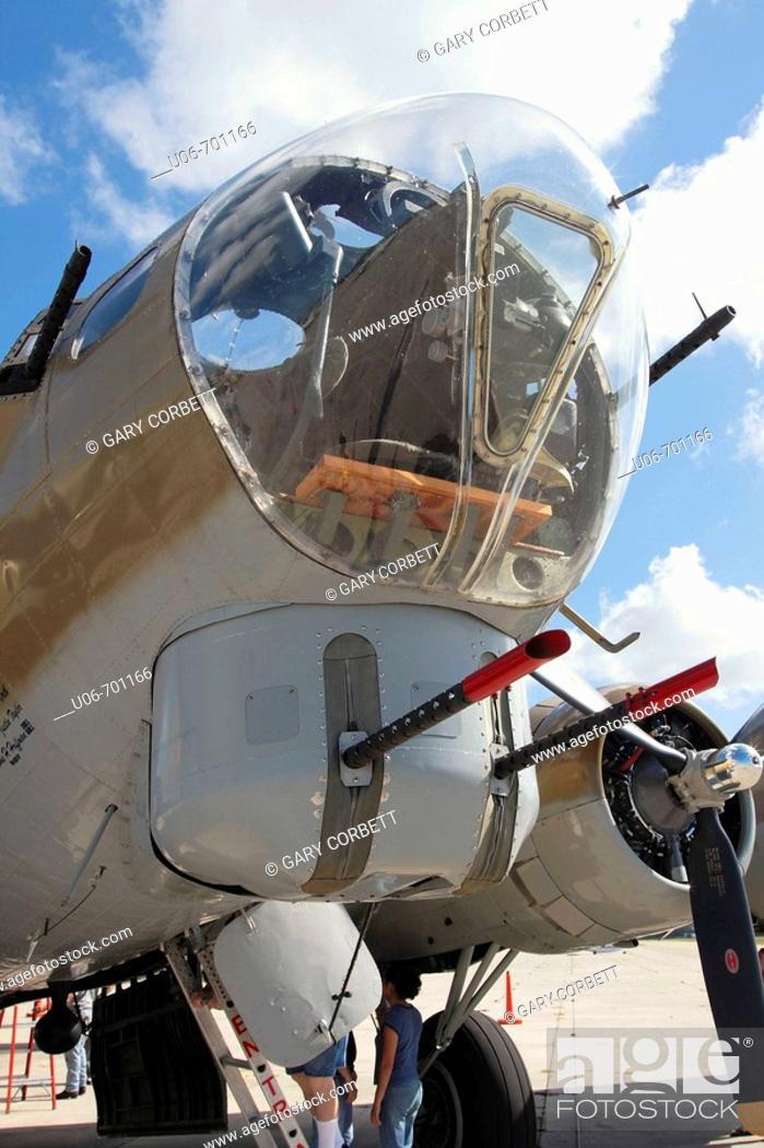 Stock Photo: Nose of a World War II B17 restored Bomber aircraft.