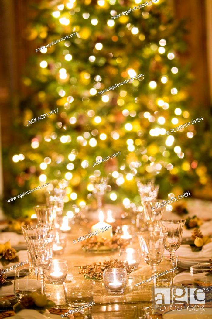 stock photo christmas decorations and tree montreal quebec canada