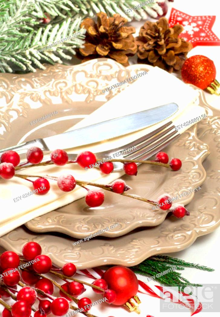 Stock Photo: Festive table setting with Christmas decorations.