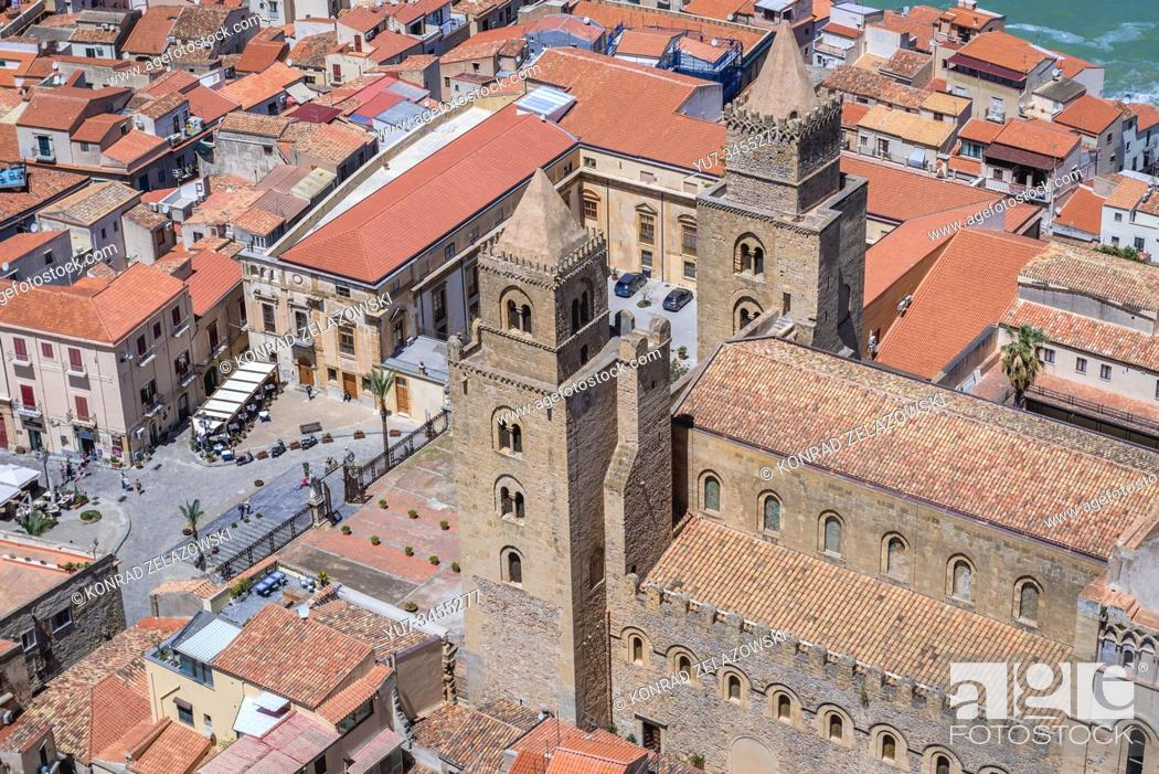 Stock Photo: Cathedral on the Old Town of Cefalu city loctaed on the Tyrrhenian coast on Sicily Island, Italy - view from Rocca di Cefalu massif.