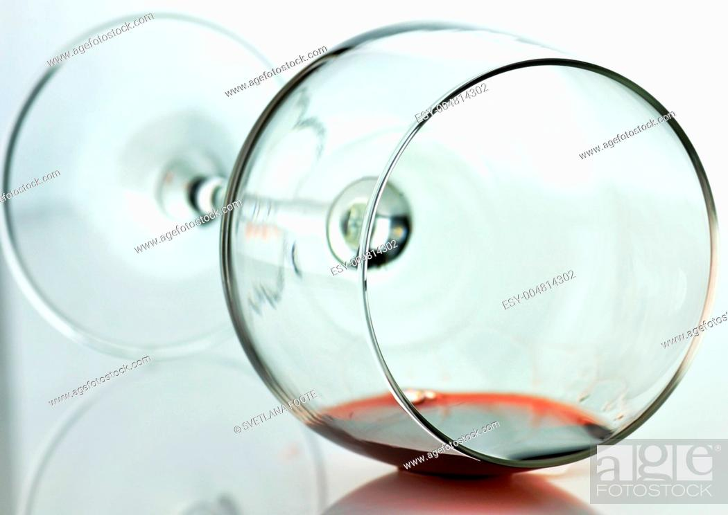 Stock Photo: spilled wine glass.