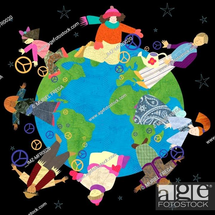 Stock Photo: Multicultural people holding peace signs around the world.