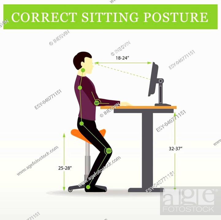 Stock Vector: ergonomic. Saddle sitting chair and Height adjustable desk or table sitting and standing pose of a man. Healthy sitting pose.