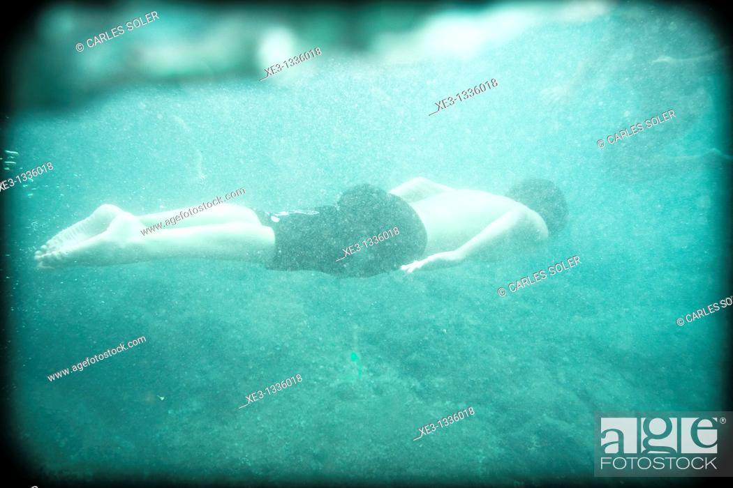 Stock Photo: Boy swimming.