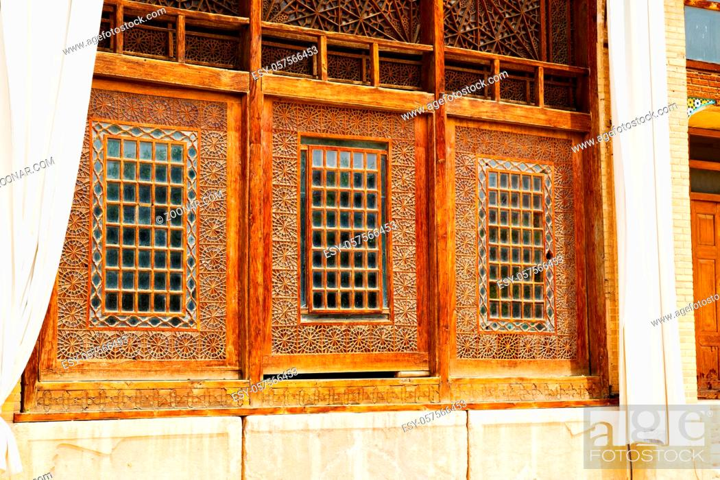 Stock Photo: blur in iran shiraz the old persian  architecture window and glass in background.