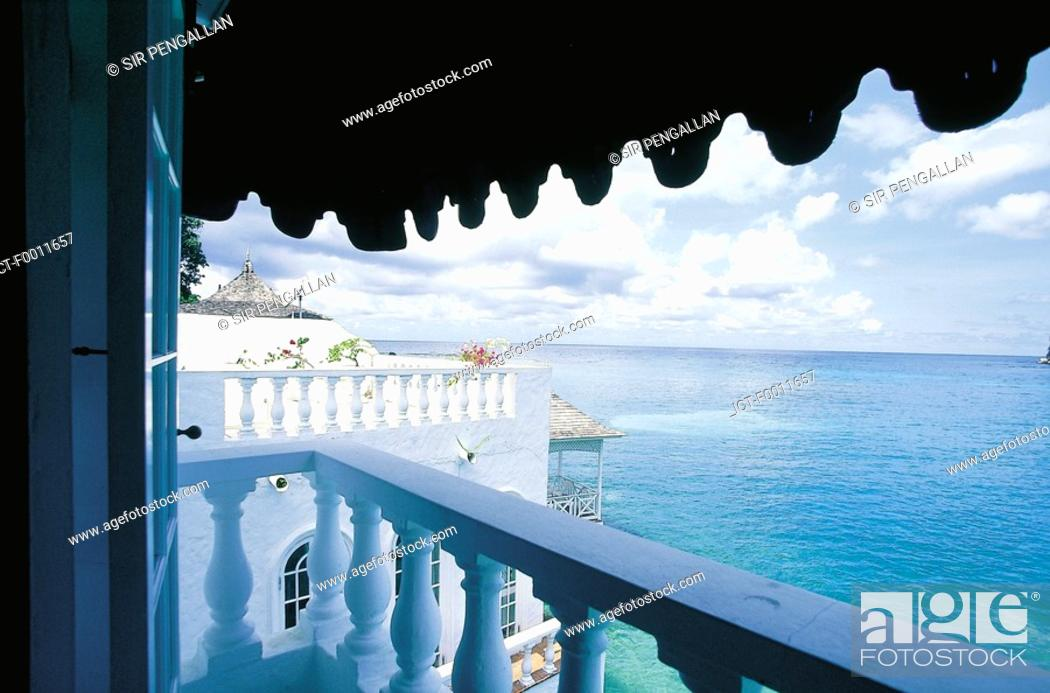 Stock Photo: Jamaica, Blue Lagoon, view from a villa.