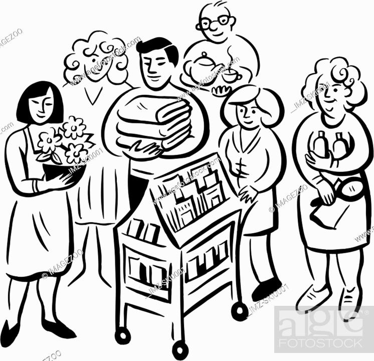 Stock Photo: A black and white drawing of a group of hospital staffs.
