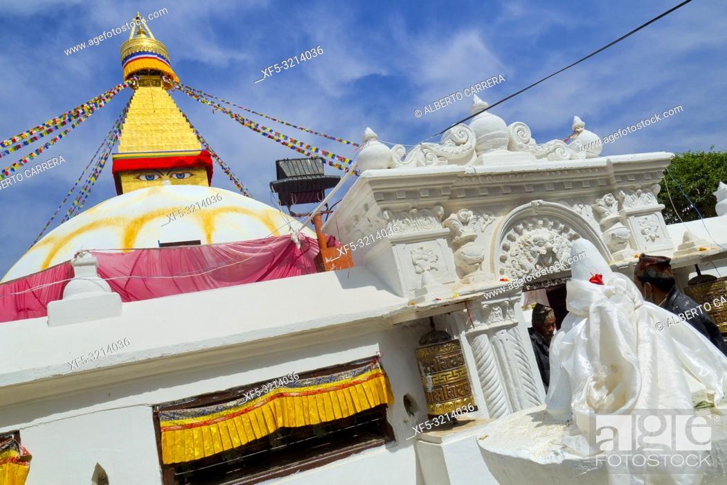 Stock Photo: Boudhanath Stupa, UNESCO World Heritage Siite, Kathmandu, Nepal, Asia.