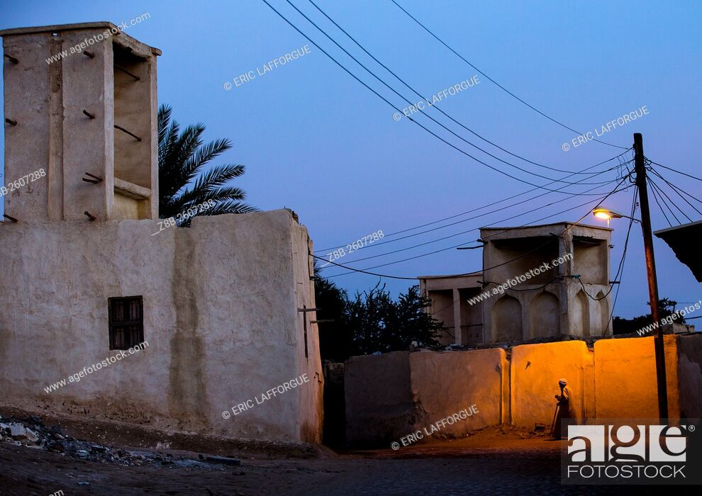 Stock Photo: Iran, Qeshm Island, Laft, wind towers used as a natural cooling system in iranian traditional architecture.