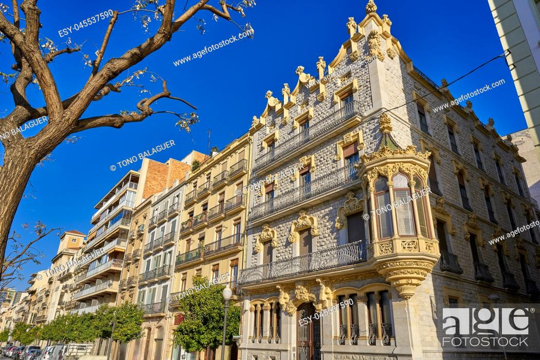 Stock Photo: Rambla Nova in Tarragona avenue of Catalonia.