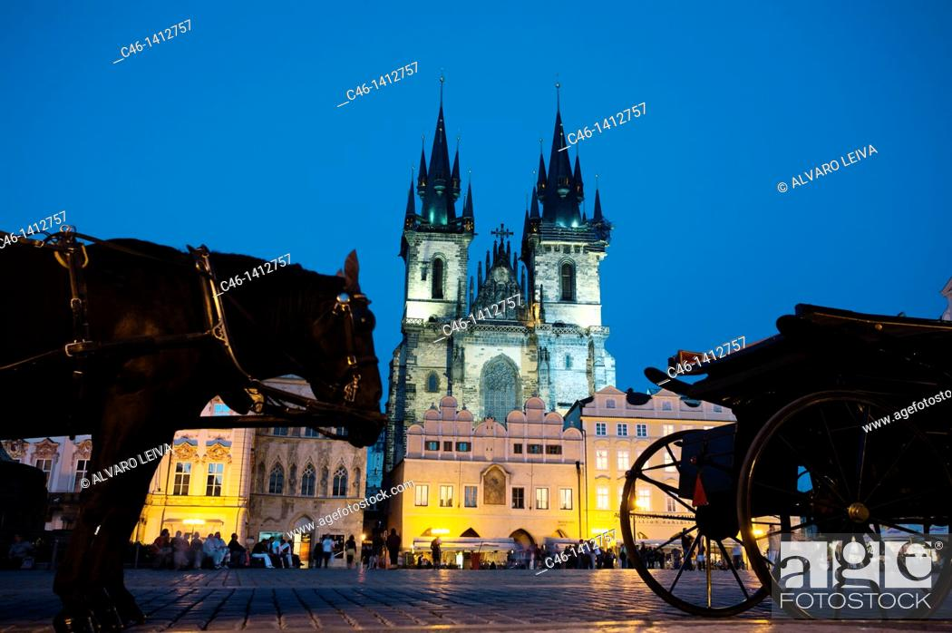 Stock Photo: Horse carriages at Old Town Square in Prague, Prague, Czech Republic.