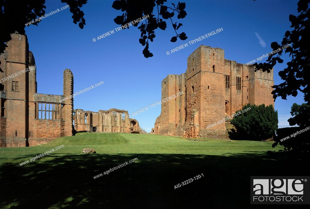 Stock Photo: Kenilworth Castle. Inner Court with Leicesters Building on left and the Norman Keep on the right.
