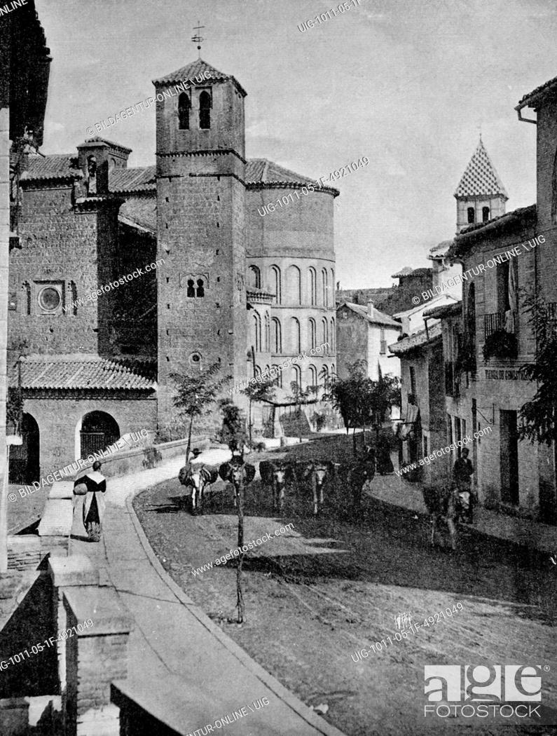 Stock Photo: Early autotype of toledo, unesco world heritage site, castile-la mancha, spain, historical photo, 1884.