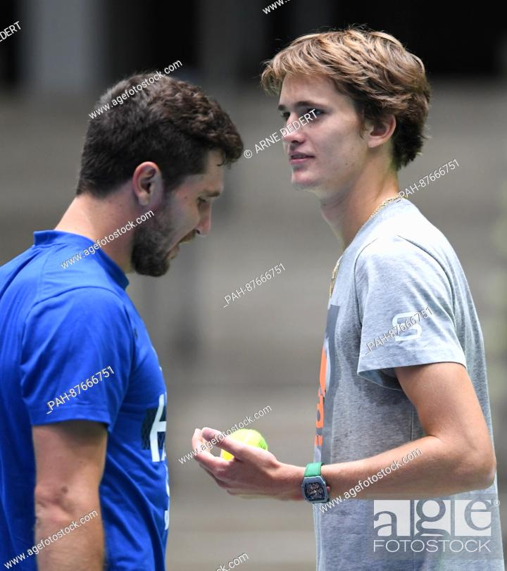 The Brothers Alexander R And Mischa Zverev During The Training
