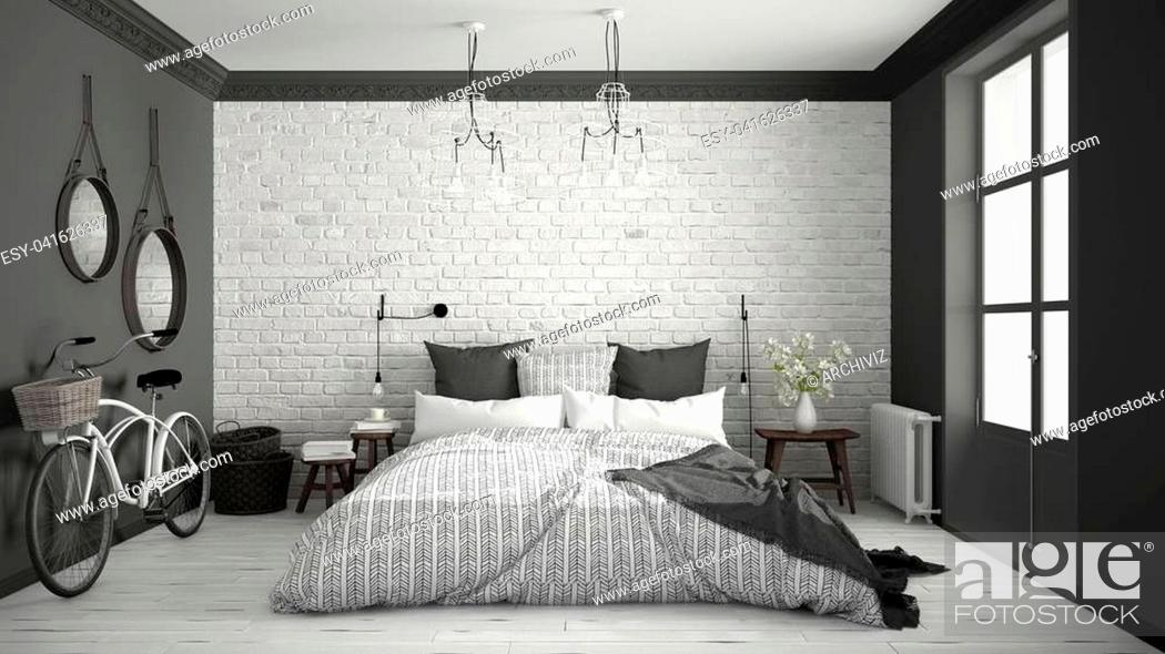 Stock Photo: White and gray modern bedroom with cozy double bed, brick wall, wooden floor and big window, scandinavian minimalist architecture interior design.