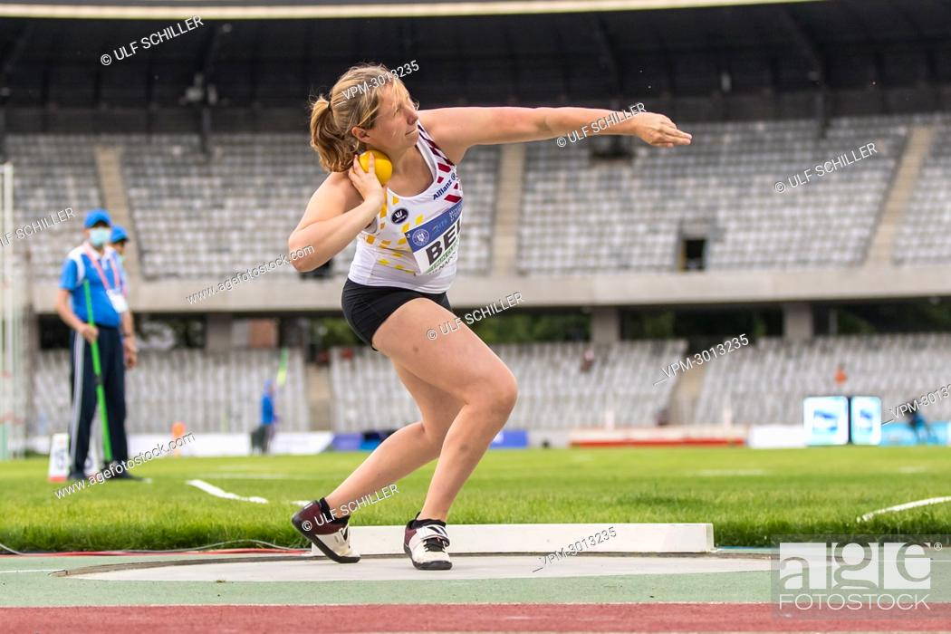 Stock Photo: Belgian Elena Defrere pictured in action during the women's shot put event at the second day of the European Athletics Team Championships First League athletics.