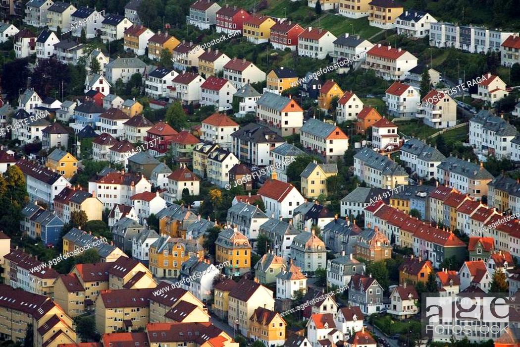 Stock Photo: City view from mount Floyen, Bergen, Norway.