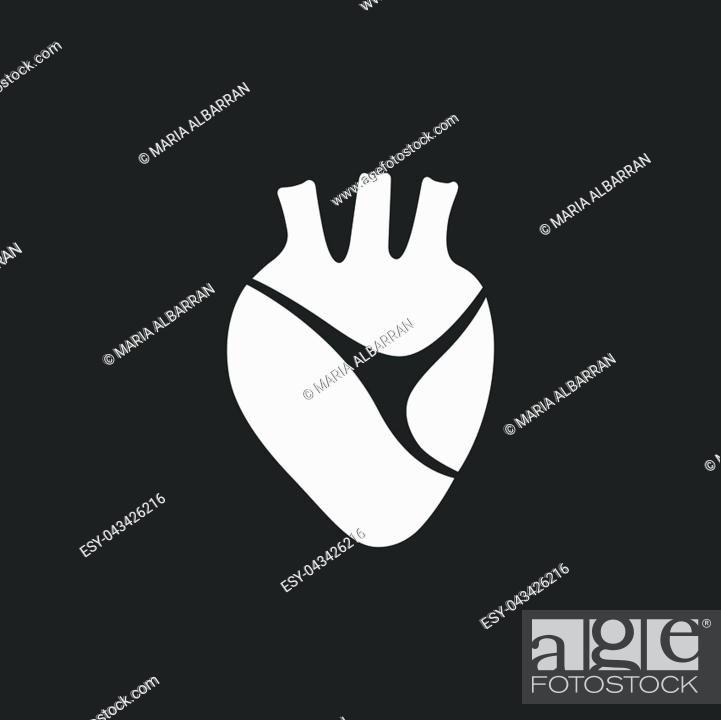 Vector: Human heart icon on a black background. Vector illustration.