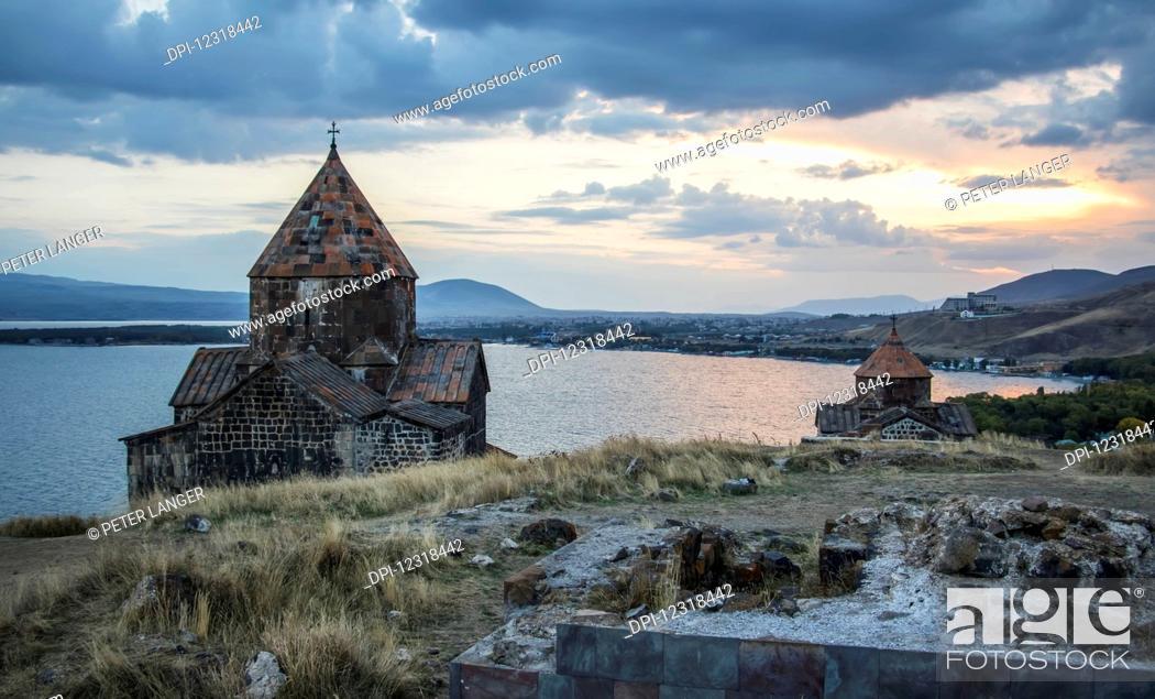 Stock Photo: Surp Arakelots (Holy Apostles Church) and Surp Astvatsatsin (Holy Mother of God Church) of the Sevanavank (Sevank Monastery) overlooking Lake Sevan; Gegharkunik.