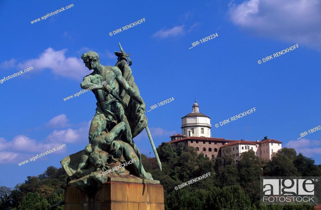 f1c56bcc61 Stock Photo - Statue on the bridge Ponte Umberto I and Church of Santa  Maria del Monte in Turin, Torino, Piedmont, Italy, Europe