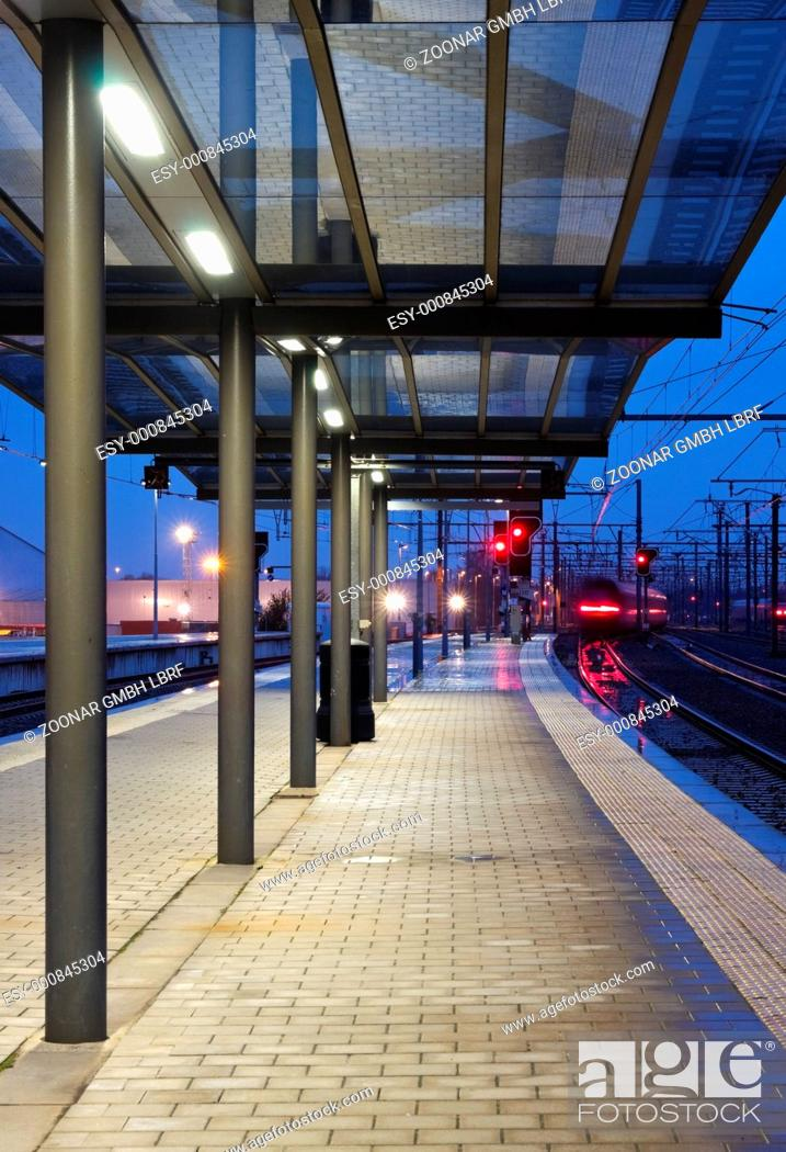 Stock Photo: Train leaving the station.